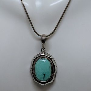 Jewelry - Vintage Sterling Silver Turquoise Pendant Necklace